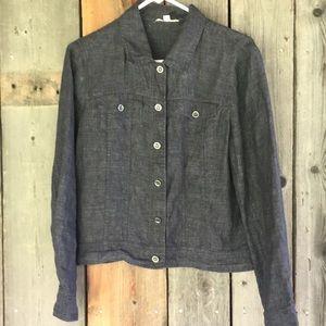 Eileen Fisher organic linen cropped denim jacket M
